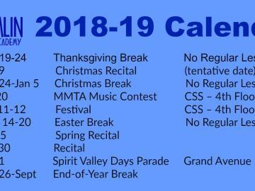 Hamlin Music Academy 2018-19 Calendar